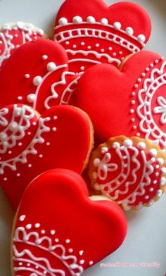 Valentine Cookies Red and White Lace by thaliascookiejar on Etsy, $16.00