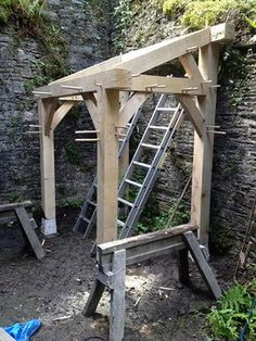 Traditional Oak Timber Frame Manufacture Devon - Gardening Go Oak Framed Buildings, Wood Store, Wood Joints, Garden Tool Storage, Timber Frame Homes, Marquise, Garden Structures, House In The Woods, Wood Construction