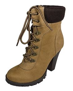Lustacious Women's Lace Up Military Style Ankle Bootie with Stacked Chunky Heel and Side Zipper, blond faux suede, 8 M US * Find out more about the great product at the image link.