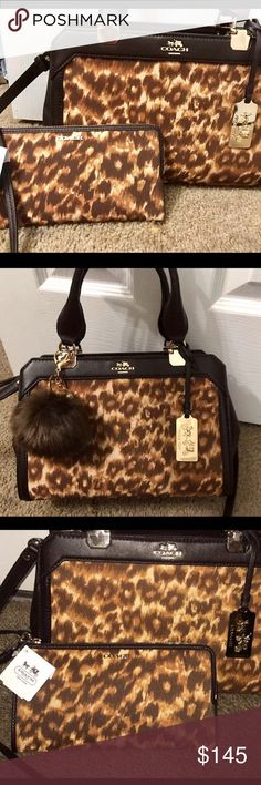 """Coach Madison Lexington Set ~Excellent Condition~ 32681 Coach Madison Lexington Ocelot Satchel Shoulder Bag Carryall ~ Included Fur Pom Pom as Free Gift ~New w tag Madison Zippy Wristlet  52099  See other listings for additional pics of each, or to buy separate.  Gold hardware, ocelot printed fabric with leather trim Detachable and adjustable cross body straps 18"""" to 21"""" drop 12""""x 8.1"""" x 4.5""""  ❤️ $278+ tax for bag alone                                     ✨✨Open to Trade for another…"""