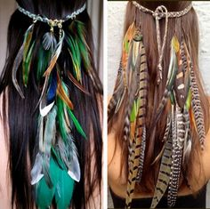 Feather Headdress FREE Shipping! Elegant vivid Rainbow Feathers that Drape down from a Woven Suede braided headband. A little taste of rain-forest paradise! 4 handmade styles! Perfect addition to any