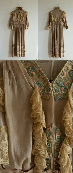 """Day Dress, Silk, circa 1908-1910 via Etsy 