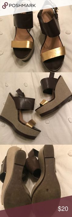 """Brown and Gold Wedges 3.5"""" platform. Great condition, only worn a few times. Report Shoes Wedges"""