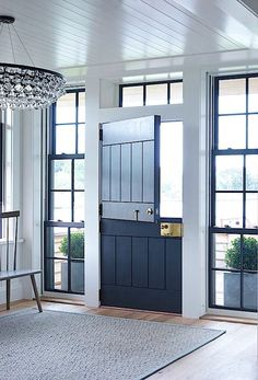 Architects Ike Kligerman Barkley Watch Hill, Rhode Island house entry - black Dutch door with black window panes Studio Mcgee, Home And Deco, Interior Barn Doors, Entry Doors, Garage Doors, Closet Doors, Patio Doors, Sliding Doors, Door Entryway