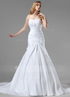 Trumpet/Mermaid Sweetheart Chapel Train Taffeta Wedding Dress With Ruffle Lace Beading (002001350) - JJsHouse