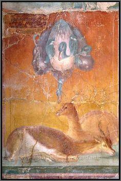 Ercolano, Villa dei Papiri, 70-60 a.c., affresco, cacciaggione con anatre e antilopi