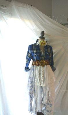 Bohemian prairie dress gypsy cowgirl blue by TrueRebelClothing, $125.00