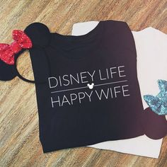 Disney Life Happy Wife Tee New Feminine Fit Xs-4xl Disney Tee ($26) ❤️ liked on Polyvore featuring tops, t-shirts, black, women's clothing, stretchy tops, stretch top, vinyl t shirt, vinyl top and stretch t shirt