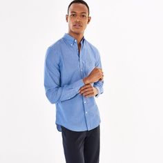 Blue Pinstriped Broadcloth Fitted Shirt Men's | GANT USA Store