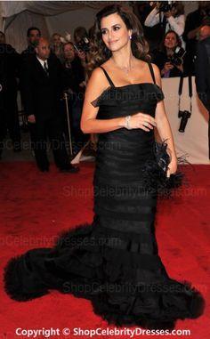 Penelope Cruz-2011 MET Ball Dresses Sheath/Column Floor-length Taffeta , Tulle Dresses(SCD318)
