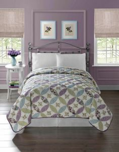 Pretty Floral Quilt Bedspread Coverlet Light Weight Twin Size Green Blue Purple | eBay