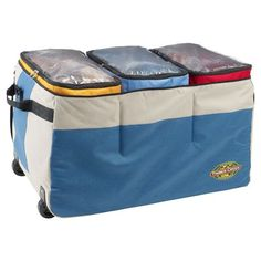 Timber Creek Camp Organizer-the most amazing organizing bag for traveling! Very durable and holds tons of stuff. Bc it is on wheels, it is easy to move when it is weighed down.