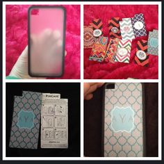 Make your own i-Phone case!!    ~Step one~ get a clear iPhone case. The one in the picture is a PixCase from target for $5 dollars, but you can gat them other places    ~Step two~ Pick patterns that you like and print them. I used google search, and for the monograms I used Mark and Grahm, PowerPoint, and the app Wall about you. You can also use pictures.    ~Step Three~Cut out your design using the stencil that comes with the PixCase.    ~Step Four~ put the paper in your case, DONE!!