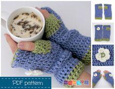 Crochet PDF pattern - Fingerless Gloves Pattern, Crochet Instant Download Pattern, Fingerless Mittens Adult size, Beginner Crochet Tutorial