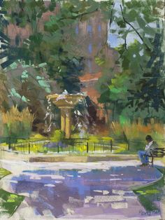"""Another example of simply suggesting architectural elements can be found in """"What Dreams May Come,"""" Pastel demo in Chicago, 12 x 16 in. by Nancie King Mertz #landscapepainting #color #colour"""