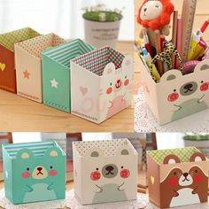 Paper Board Makeup Storage Box Cosmetic Desk Organizer Stationery DIY in Home & Garden, Household Supplies & Cleaning, Home ideas makeup organization box organizing ideas for you can make a personalized storage bucket which has Diy Makeup Organizer, Makeup Storage Box, Desk Organization Diy, Diy Desk, Storage Organization, Storage Ideas, Makeup Box Diy, Diy Stationery Organizer, Kids Craft Storage