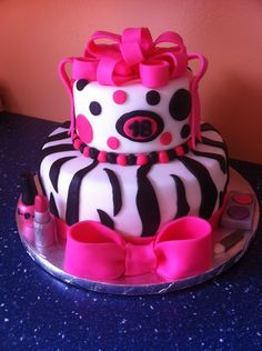 Zebra stripes, Pink bows and makeup for a Girl's 18th birthday