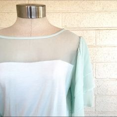 Soft surroundings teal silk top Super chic top in a light teal color with unique silk sleeves. Super stretchy and in great condition! Soft surroundings Tops Blouses