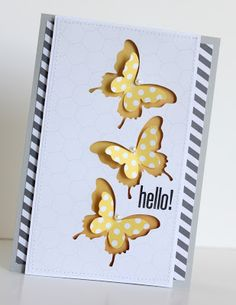 handmade card ... blue, yellow, white ... luv the negative die space butterflies backed in solid yellow and then a polka dot yellow punched butterfly nestled inside ... Stampin'Up!
