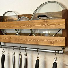 Rustic Kitchen Pot Rack Lid Holder Industrial Cast Iron Pipe Towel Bar Pan Hooks Light Walnut is part of Rustic pot racks - (etsy com) [ D E S C R I P T I O N ] Add a touch of country style to your kitchen Kitchen Utensil Organization, Kitchen Wall Storage, Kitchen Utensils, Diy Kitchen, Kitchen Rustic, Kitchen Country, Kitchen Ideas, Kitchen Decor, Kitchen Industrial