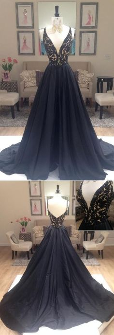 Sexy Prom Gowns,Black Prom Dress,Open Back Prom Dresses ,Long Spaghetti Straps Evening Dress,Modest Formal Dress