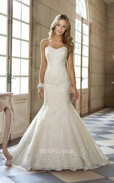 flattering ivory lace strapless fit and flare lace up back wedding dress