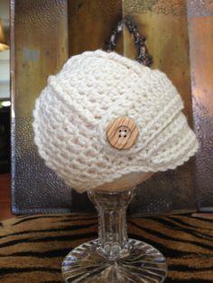 Crocheted Baby Hat  Newsboy Style  3 to 6 Months  New by lisaswick, $18.00