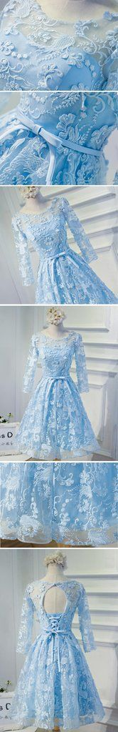 Long Sleeve Blue Open back Lace Cute Homecoming Prom Dresses, Affordab – SposaDesses