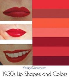 1950s lipstick colors and lip shapes. 1950s makeup tutorial at vintagedancer.com/1950s/1950s-makeup/