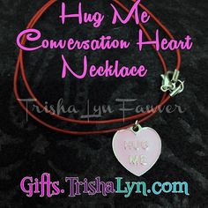 Now available at  Hug Me Conversation Heart Necklace for #ValentinesDay for $10. Red leather cord with silver plated lobster clasp closure. Necklace is 18 long. Shop link in profile! .. .. #jewelry #handmadejewelry #crafty #DIY #gifts #handmade #shophandmade #handmadewithlove #imadethis #psimadethis #makersgonnamake #favehandmade #makersvillage #thehandmadeparade #shopsmall #handmadeacademy