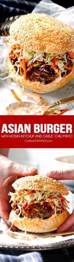 crazy juicy Asian Burgers are so bursting with flavor you barely need to add anything and its one of the quickest dinners you will make! The hoisin ketchup, Garlic Chili Mayo and Asian Slaw are also amazing! Definitely making these for my next BBQ! Asian Recipes, Beef Recipes, Cooking Recipes, Hamburger Recipes, Grilling Recipes, Asian Burger Recipe, Beste Burger, Asian Slaw, Gastronomia