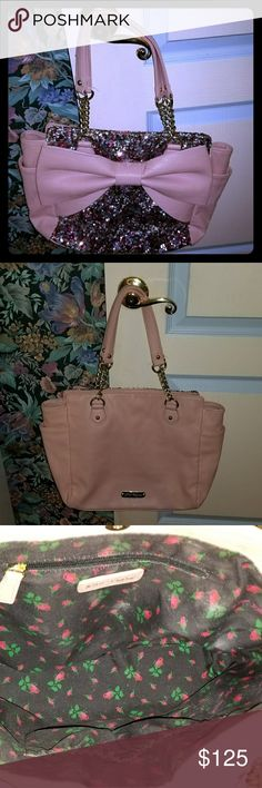 Betsey Johnson pink,  sequin, bow large purse Only carried about 4 weeks In great condition See pics 2 side pockets 3 inside pockets 12 inches tall not counting the handles 17 inches wide 5 inches across outside bottom of the purse Stretches very, very wide inside Will bundle Betsey Johnson Other