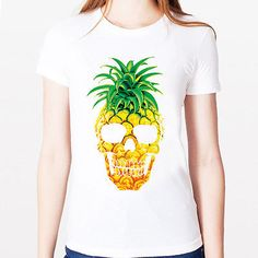 PINEAPPLE SKULL art short sleeve cotton fit Ladies women white tee t-shirt S M L