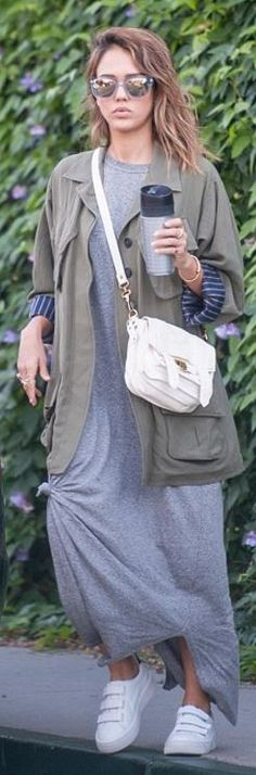 Who made  Jessica Alba's gray maxi dress, green coat, and white handbag?