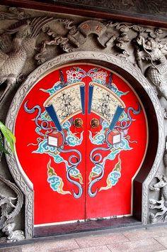Red door in Taipei, Taiwan.