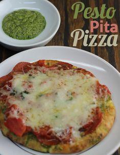 Super simple Pesto Pita Pizza!  I would use turkey pepperoni and add some veggies.
