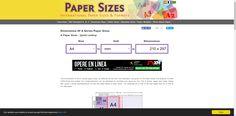Calculadora online útil para conocer las dimensiones en mm de distintos formatos de papel.