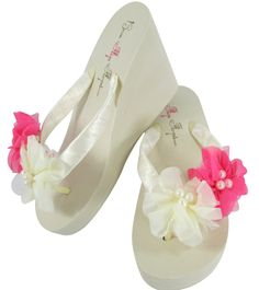 976cf04133cfa Wedding Flip Flops - Ivory Hot Pink Chiffon Flowers with Pearl Accents - Bride  Satin Wedge