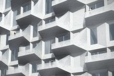 Balconies of The Silo by COBE in Copenhagen's new neighborhood Nordhavnen.