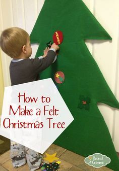 """Easy Felt Christmas Tree! Fun so the kids won't play with the """"real tree""""!"""