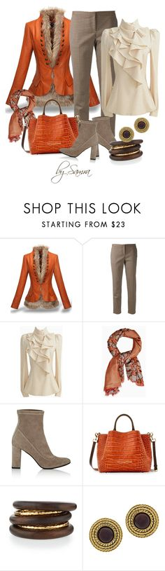 """""""Brown & Orange"""" by samra-dzabija ❤ liked on Polyvore featuring Theory, Max&Co., Barneys New York, Dooney & Bourke, NEST Jewelry, Chanel, orange, brown, jacket and blouse"""