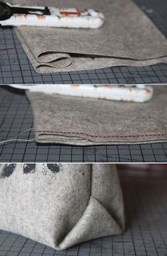 Origamiecken bei Taschen- das geht so einfach! Am schönsten wird das aus etwas steiferen Materialien wie Leder oder Filz.: