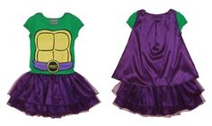Adorable superhero costume dresses kids up in a colorful Ninja Turtle outfit, with attached cape and fluffy tutu