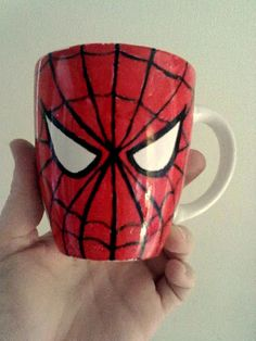 Spiderman Mug for the boy. Made it myself with porcelain paint :)