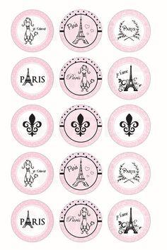 INSTANT DOWNLOAD  Paris Parisian Bottle Cap Images  by DigiPrintz, $1.25