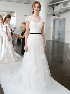 A-Line Wedding Dress withLace Cap Sleeves and Black Sash   Marchesa Spring 2018