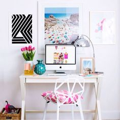 Love these simple but colorful accessories to decorate any desk/office space!!