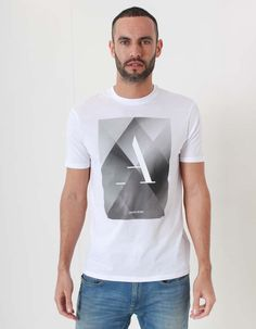 Armani Jeans White Pyramid Print Tshirt | Accent Clothing