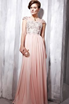A-Line Floor-Length V-Neck Pink Chiffon Dress -
