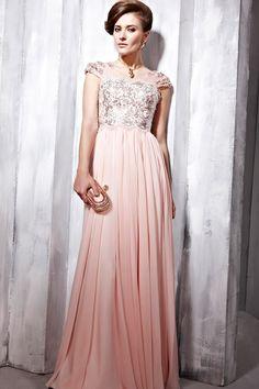 A-Line Floor-Length V-Neck Pink Chiffon Dress -